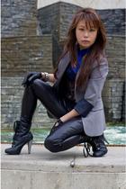 vintage blazer - cotton on leggings - Just jeans gloves