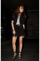black vintage blazer - black Steve Madden shoes - gray MinkPink shirt
