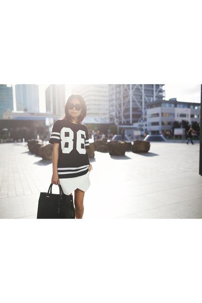 white Zara skirt - black Topshop t-shirt