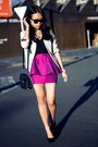 Purple-asos-skirt-black-necklace-black-heels