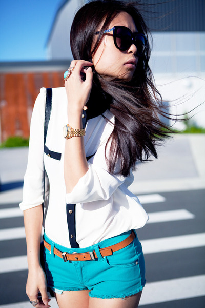 white blouse - turquoise blue Topshop shorts