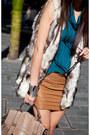 Teal-silk-drape-top-top-olive-green-alexander-wang-heels-tawny-leather-skirt