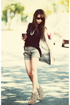 yellow Jeffrey Campbell shoes - black Schwing schwing top
