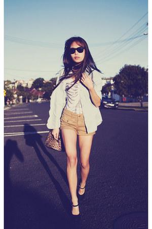 Black Milk bodysuit - camel Topshop shorts - black Forever 21 heels