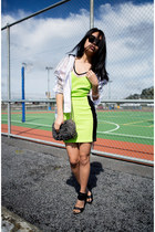 lime green dress - black Alexander Wang heels