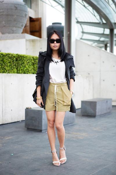 olive green Topshop shorts - ivory asos heels