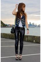 blue diy vest - black cotton on leggings - black vintage belt