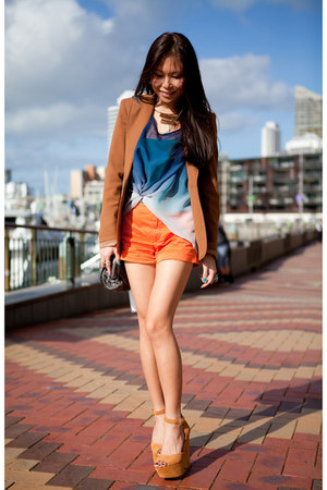 burnt orange grettta Steve Madden shoes - camel asos blazer - blue top