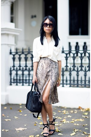 light brown skirt - ivory asos blouse
