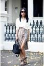 Light-brown-skirt-ivory-asos-blouse