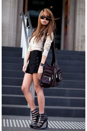 black Jeffrey Campbell shoes - brown Ajito purse