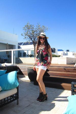 hot pink Stradivarius shirt - white H&M shorts - Guess sunglasses