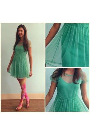 dress - floral tights - sandals