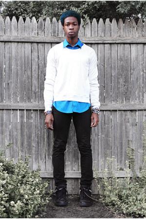 denim jeans H&M jeans - balenciaga shirt - neoprene Burberry Prorsum jumper