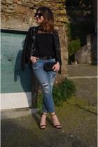 black romwe jumper - navy Zara jeans - black Zara heels