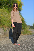 tan Zara jumper - black H&M pants