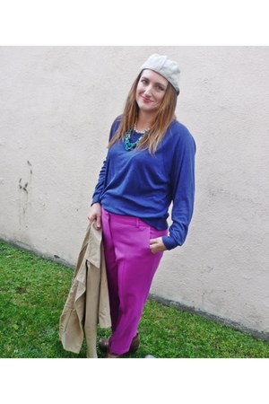 hot pink J Crew pants - blue American Apparel sweatshirt