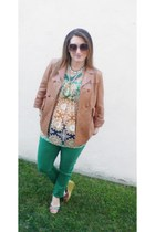 brown Faryl Robin shoes - green AG jeans - camel See by Chloe jacket