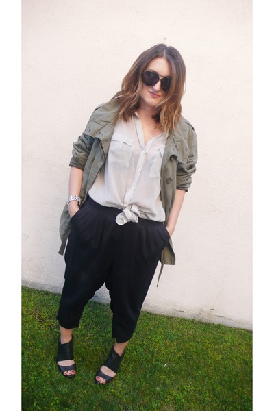 olive green Gap jacket - light blue Joie shirt - black H&M pants