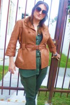 tawny leather See by Chloe jacket - olive green chiffon American Apparel shirt