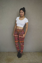 white tops asos top - maroon pants The Cassette Society pants
