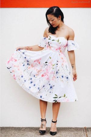 white dress Alannah Hill dress - black heels asos heels