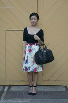 black bag pauls boutique bag - white skirt Review skirt - black heels asos heels