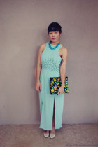green clutch asos bag - aquamarine dress Three Of Something dress