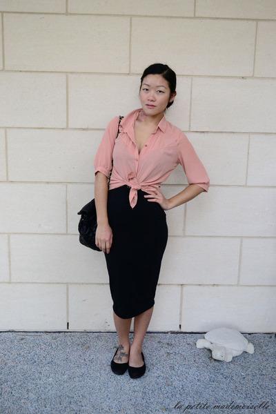 pink shirt La Petite Mademoiselle shirt - black bag Sportsgirl bag