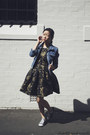 Black-dress-portmans-dress-sky-blue-denim-jacket-la-petite-mademoiselle-jacket