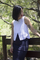 white top Witchery top - navy skirt Saba skirt - neutral heels RMK heels