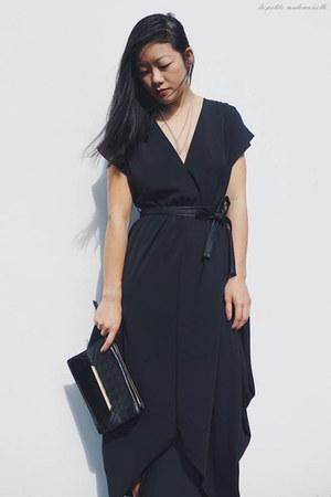 black dress fate dress - black clutch Mimco bag - black heels asos heels