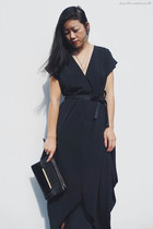 black dress fate dress - black clutch Mimco bag - black heels asos heels