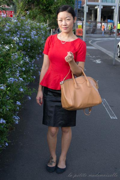 red top Glassons top - tan bag Sterling & Hyde bag