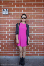 black boots Roc Boots boots - hot pink dress The Cassette Society dress