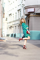 Green plaid dress & marsala heels