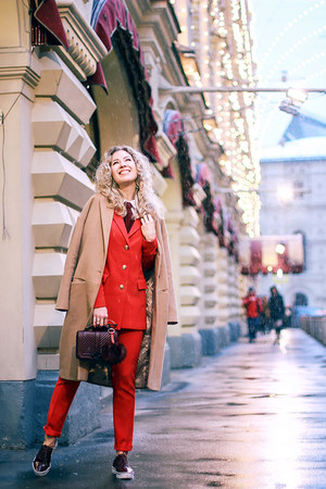 red MONK suit - tan Stradivarius coat - crimson Rebecca Minkoff bag