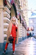 red MONK suit - tan Stradivarius coat - crimson Rebecca Minkoff bag