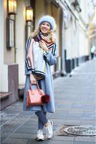 heather gray asos coat - salmon Michael Kors bag - white Zara sneakers