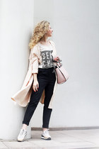 black Zara pants - light pink reserved bag - neutral Zara sneakers