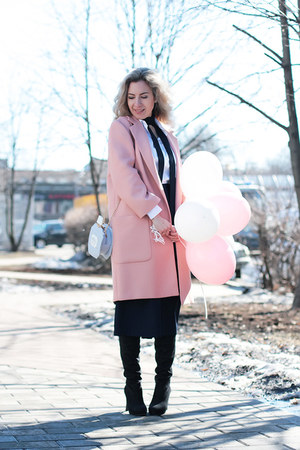 light pink Zara coat - black DressLink shoes - navy OASAP pants