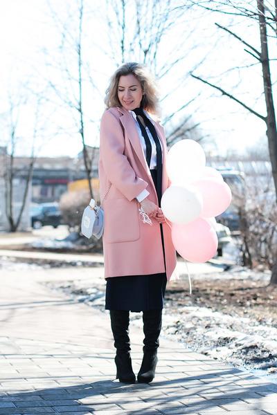 light pink Zara coat - black DressLink shoes - navy OASAP pants