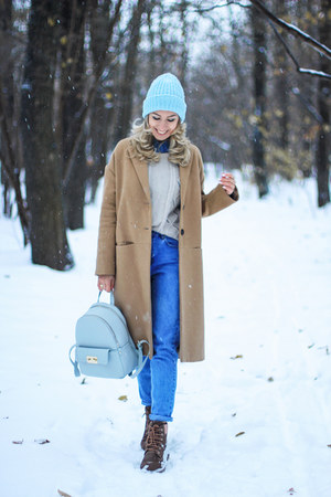 tan Stradivarius coat - light blue Epik Knits hat - light blue Zara bag