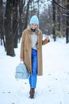 tan Stradivarius coat - light blue Epik Knits hat - light blue Zara bag