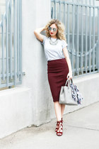 brick red Zara skirt - silver Stradivarius t-shirt - brick red portal heels