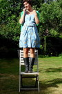 Navy-boots-sky-blue-floral-print-vintage-dress-chartreuse-comfy-zara-cardiga