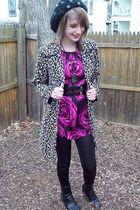 Forever 21 coat - Express dress - Charlotte Russe leggings - moms boots - H&M ha