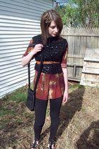 vintage vest - Daisy Fuentes shirt - Walmart leggings - Nine West purse - Vintag
