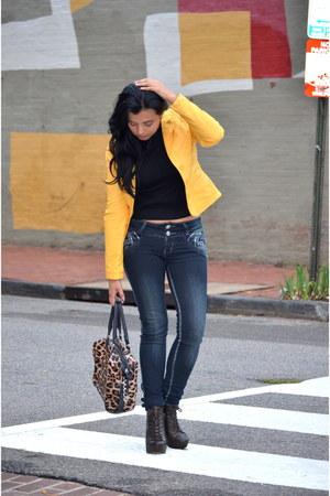 crimson JustFab boots - JCPenney jeans - Sheinside jacket - JustFab bag