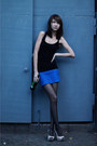 Silver-gino-vaello-shoes-blue-bershka-skirt-black-bershka-top